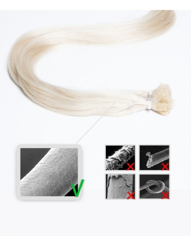 Extensions à chaud 50 cm blond platine cheveu lisses