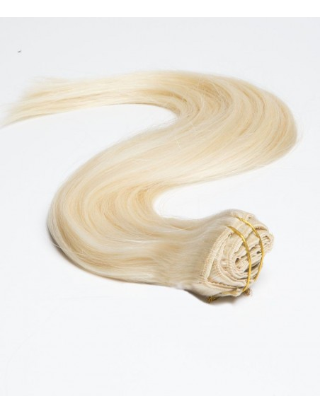 Extension à Clip Blond Platine - Extension 50 cm 110gr cheveux naturels 100% Remy Hair