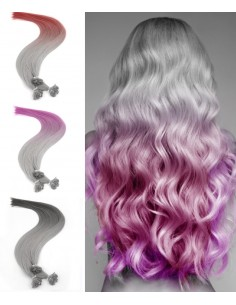 25 extensions à chaud Silver Ombré Hair Crazy Colors