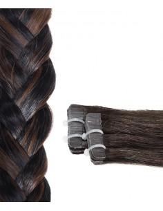 20 Tape-Extensions in braun Schwartz 21 Haarverlängerung