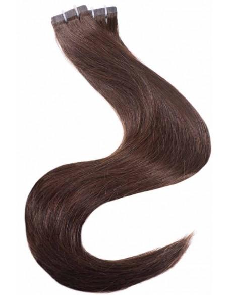 Extension Tape Hair - 2 Brun foncé - Cheveux Naturels, Remy Hair, Qualité PRO