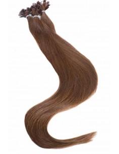 Haarverlängerung mit Bondings - Haarfarbe Kastanienbraun