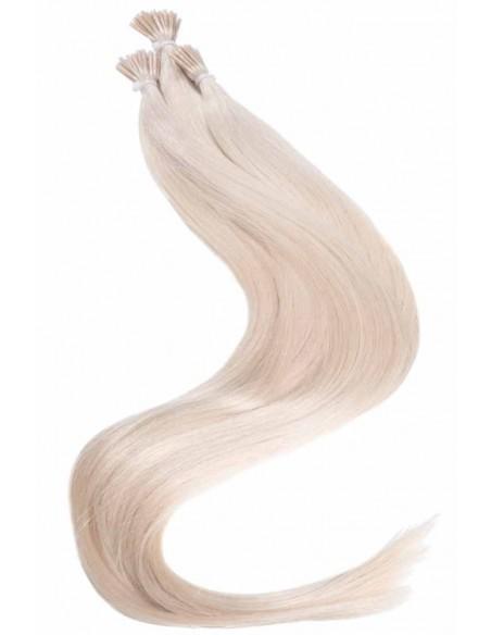 extension à froid cheveux naturels Blond Platine