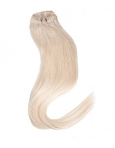 Extension Clip Cheveu naturel Blond Platine
