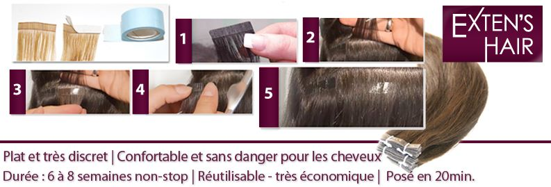 Extension cheveux bande à coller