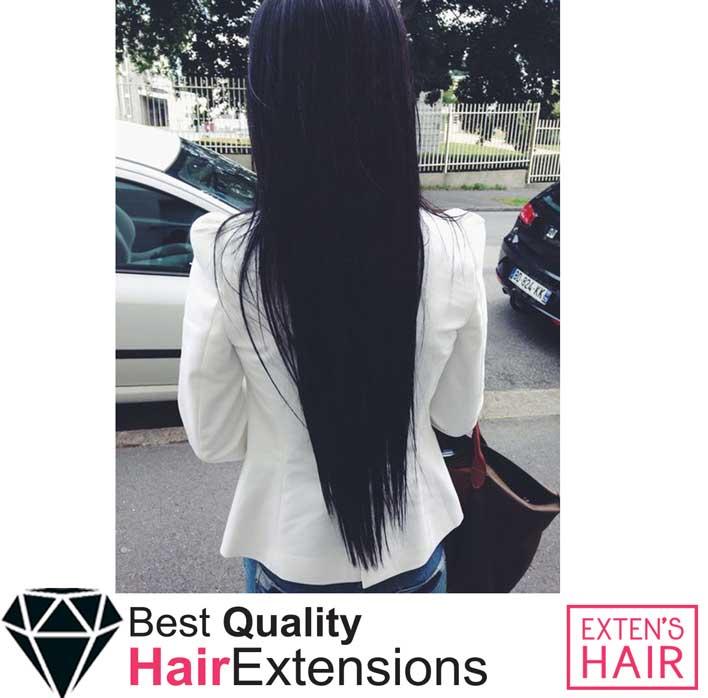 extensions adhésives en cheveux noirs de 70 cm