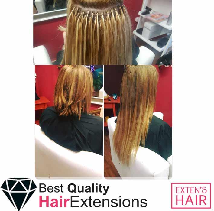Extension à froid mèches de cheveux naturels avec anneaux