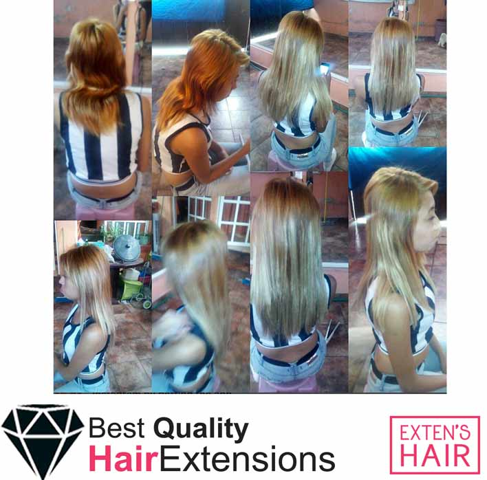 mèches de cheveux à froid avec anneaux blond caramel