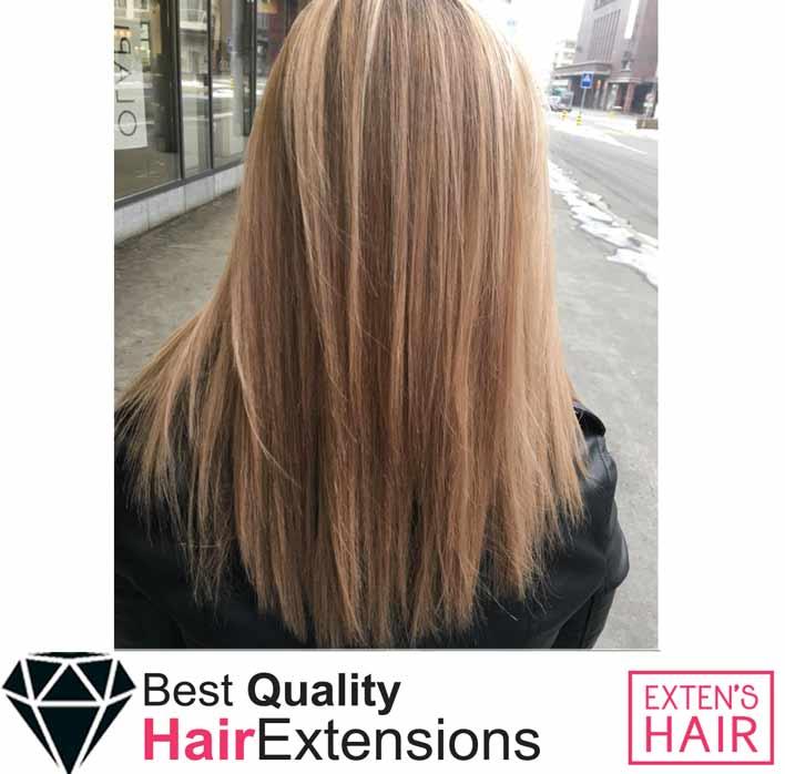 Extension de cheveu à froid avec anneaux blond caramel