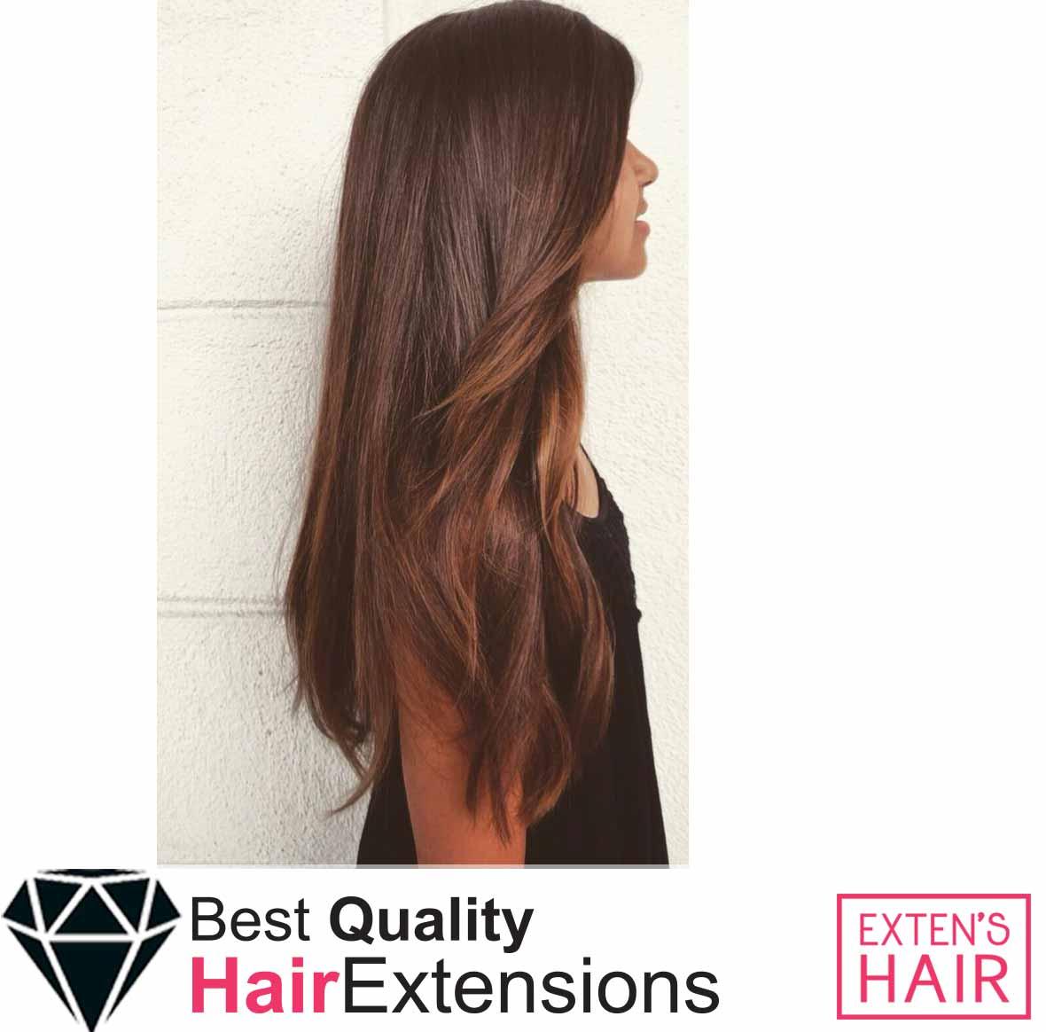 Extensions mèches en kératine cheveux châtain naturels remy hair