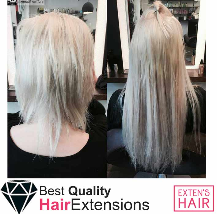Extensions à clips - Cheveux blond platine