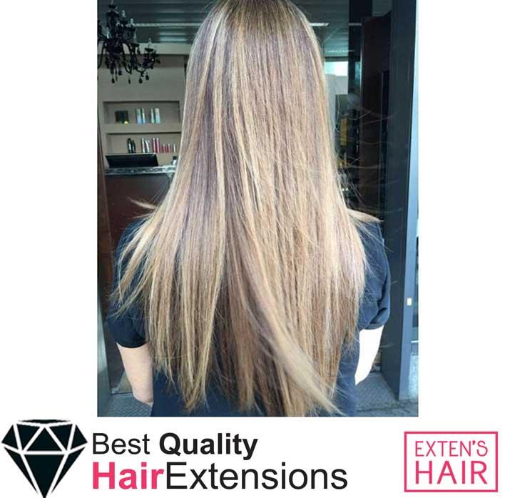 Extensions de cheveux naturels à chaud noisettes